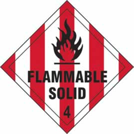 Flammable Solid 4 - s/a vinyl - Diamond 100 x 100mm sign