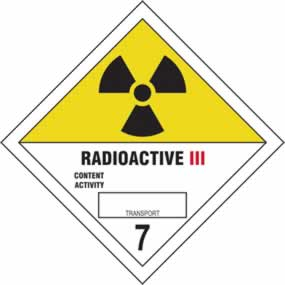 Radioactive III 7 - s/a vinyl - Diamond 100 x 100mm sign