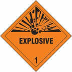 Explosive 1 - s/a vinyl - Diamond 100 x 100mm sign