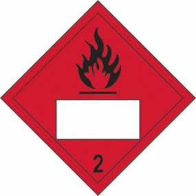 Flammable 2 Symbol - s/a vinyl - Placard 250 x 250mm sign