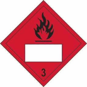 Flammable 3 Symbol - s/a vinyl - Placard 250 x 250mm sign
