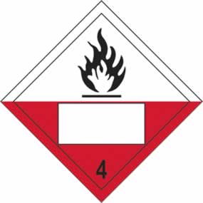 Flammable 4 Symbol - s/a vinyl - Placard 250 x 250mm sign