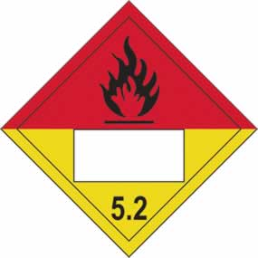 Flammable 5.2 Symbol - s/a vinyl - Placard 250 x 250mm sign