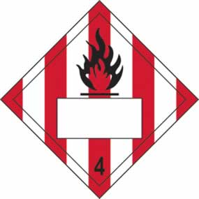Flammable 4 Symbol Striped - s/a vinyl - Placard 250 x 250mm sign