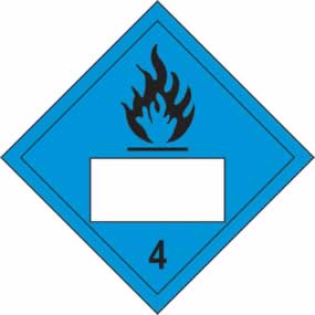Flammable 4 Symbol Blue - s/a vinyl - Placard 250 x 250mm sign