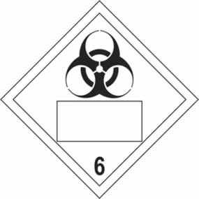 Biohazard 6 Symbol - s/a vinyl - Placard 250 x 250mm sign