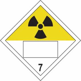 Radioactive 7 Symbol - s/a vinyl - Placard 250 x 250mm sign