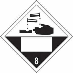 Corrosive 8 Symbol - s/a vinyl - Placard 250 x 250mm sign