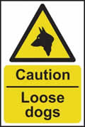 Caution Loose dogs - s/a vinyl - 200 x 300mm sign