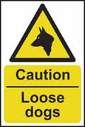 Caution Loose dogs - rigid plastic sign - 200 x 300mm sign