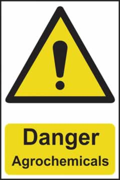 Danger Agrochemicals - 1mm rigid pvc 200 x 300mm sign
