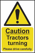Caution Tractors turning Please drive carefully - rigid plastic sign - 200 x 300mm sign