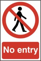 No entry no man symbol - s/a vinyl - 400 x 600mm sign