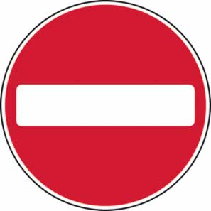 450 mm diametre Dibond No Entry Road Sign without channel made from Aluminum Composite sign