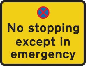 780 x 600 mm Dibond No stopping except in emergency Road Sign with channel made from Aluminum Composite sign
