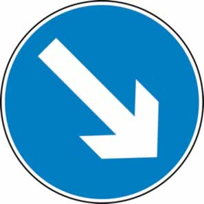 Keep right arrow - Classic Roll up traffic sign 600 mm Triflex roll up sign sign