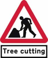 Road Works with Tree cutting Supplied plate - TriangleFlex Roll up traffic sign 750 mm Triangle TriFlex roll up sign sign