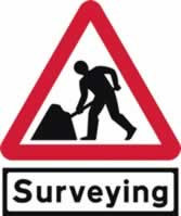 Road Works with Surveying Supplied plate - TriangleFlex Roll up traffic sign 750 mm Triangle TriFlex roll up sign sign