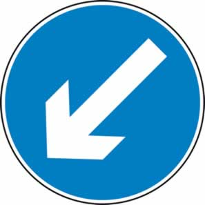 Directional arrow left - Q Sign 750mm sign
