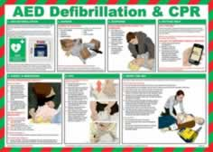 Safety Poster - AED defibrilation & CPR - LAM 590 x 420mm made from Chrome Plated sign