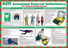 Safety Poster - AED Automated External Defibrillators - LAM 590 x 420mm sign