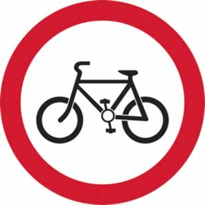 450 mm diameter Dibond Cyclists Prohibited Road Sign without channel made from Aluminum Composite sign