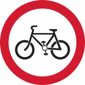 450 mm diameter Dibond Cyclists Prohibited Road Sign with channel made from Aluminum Composite sign