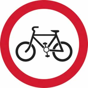 600 mm diameter Dibond Cyclists Prohibited Road Sign without channel made from Aluminum Composite sign