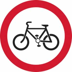 600 mm diameter Dibond Cyclists Prohibited Road Sign with channel made from Aluminum Composite sign