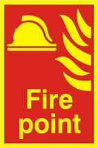 Fire point - PHO 200 x 300mm 1.3 mm rigid Photoluminescent s/a board sign
