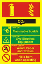 Fire extinguisher composite - CO2 - PHO 200 x 300mm 1.3 mm rigid Photoluminescent s/a board sign