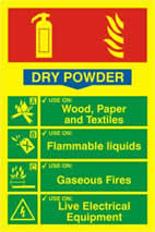 Fire extinguisher composite - Dry powder - PHO 200 x 300mm 1.3 mm rigid Photoluminescent s/a board sign