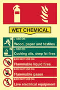 Fire extinguisher composite - Wet chemical - PHO 200 x 300mm 1.3 mm rigid Photoluminescent s/a board sign