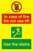 In case of fire Do not use lift Use the stairs - PHO 200 x 300mm 1.3 mm rigid Photoluminescent s/a board sign
