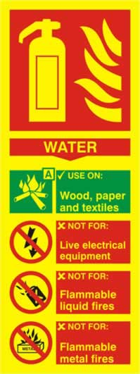 Fire extinguisher composite - Water - PHO 75 x 200mm 1.3 mm rigid Photoluminescent s/a board sign