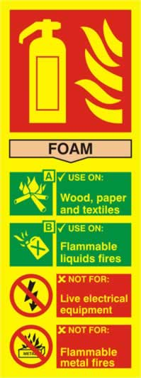 Fire extinguisher composite - Foam - PHO 75 x 200mm made from Foam sign