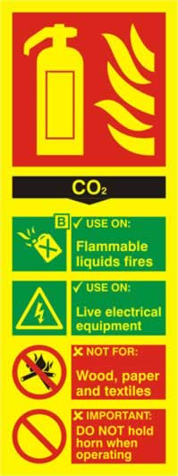 Fire extinguisher composite - CO2 - PHO 75 x 200mm 1.3 mm rigid Photoluminescent s/a board sign