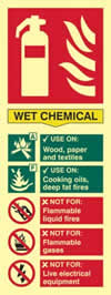 Fire extinguisher composite - Wet chemical - PHO 75 x 200mm 1.3 mm rigid Photoluminescent s/a board sign