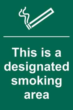 This is a designated smoking area - 1mm rigid pvc 200 x 300mm sign