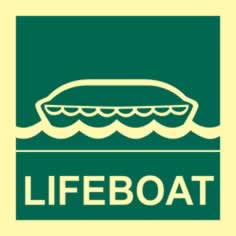 Lifeboat - PHS 150 x 150mm Photoluminescent s/a label sign