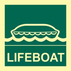 Lifeboat - Photoluminescent 150 x 150mm 1.3 mm rigid Photoluminescent s/a board sign