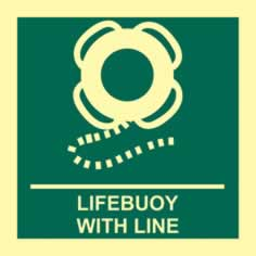 Lifebuoy with line - PHS 150 x 150mm Photoluminescent s/a label sign