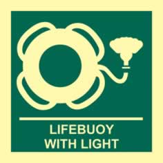 Lifebuoy with light - PHS 150 x 150mm Photoluminescent s/a label sign