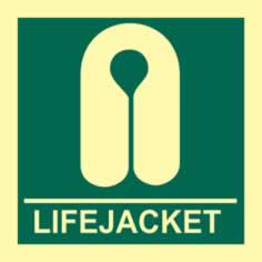 Lifejacket - PHS 150 x 150mm Photoluminescent s/a label sign