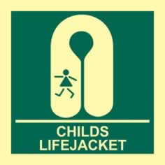 Child s lifejacket - PHS 150 x 150mm Photoluminescent s/a label sign