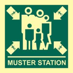 Muster station - Photoluminescent 150 x 150mm 1.3 mm rigid Photoluminescent s/a board sign