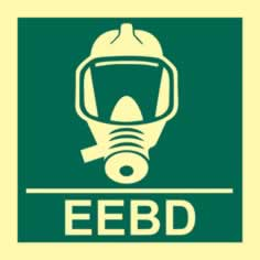 Emergency escape breathing device EEBD - Photoluminescent 150 x 150mm 1.3 mm rigid Photoluminescent s/a board sign
