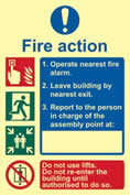 Fire action procedure - PHO 200 x 300mm 1.3 mm rigid Photoluminescent s/a board sign
