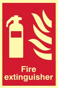 Fire extinguisher - PHS 200 x 300mm Photoluminescent s/a label sign