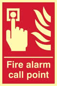 Fire alarm call point - PHS 200 x 300mm Photoluminescent s/a label sign